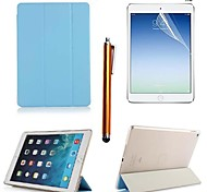 Plain Weave PU Leather Full Body Case with Touch Pen and Protective Film 2 Pcs for iPad Air 2/iPad 6(Assorted Colors)