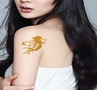 Outros Tatuagem Adesiva - Estampado/Waterproof/Purpurina - para Feminino/Girl/Adulto/Adolescente - de Papel - Dourada - #(17CM*16CM) #(2)