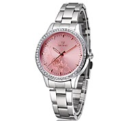 Skone® Women's Steel Band Watch Rose Flower Pattern Imitation Diamond Fashion Women Business Watch Cool Watches Unique Watches