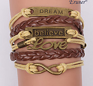 Eruner®Multilayer Alloy Charms Handmade Leather Bracelets