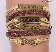 charmes en alliage d'eruner®multilayer bracelets en cuir à la main