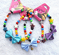 Star Bow Style Necklace with Small Bell for Pets Dogs
