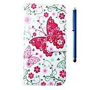 4.95 Inch Butterfly Pattern PU Wallet Leather Case and Pen for LG Nexus 5