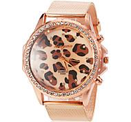 Women's Round Diamante Case Leopard Pattern Dial Alloy Band Quartz Wrist Watch