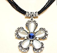 Chain Necklace Pendant Cat's Eye Crystal Flower Exaggerated Clavicle Restoring Ancient Ways