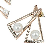 The Latest Version of the Triangle Pearl Diamond Stud Earrings