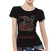 personalisierte Strass t-shirts Weihnachtsmann-Musterfrauen Baumwollkurzschlußhülsen