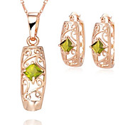 Z&X® European Style 18K Gold Plated Green Crystal Pendant Necklace Earrings Jewelry Set (1 set)