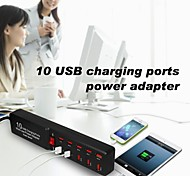 POPLAR British Plug 10 USB Charging Ports Multi-use Power Adapter for Samsung / iPhone / iPad (5V)