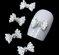 10pcs  Fashion Pearl Bow Tie 3D Rhinestone DIY Alloy Accessories Nail Art Decoration