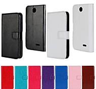capa protetora estilo carteira padrão de cor sólida pu de corpo inteiro com suporte para HTC Desire 310 (cores sortidas)