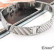 Eruner®Men's Stripe Pattern Titanium Steel Bracelet (Silver)