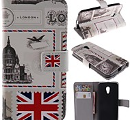 Vintage Postcard Design PU Leather Full Body Case with Stand and Card Slot for Motorola G2