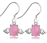 925 Sterling Silver Cat's Eye Angel Earrings