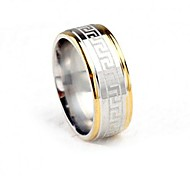Z&X®  8mm Width Two Tone The Great Wall Pattern Titanium Steel Men's Band Ring