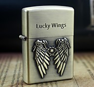 Earth Gold LUCKY WINGS Pattern Metal Relief Oil Lighter