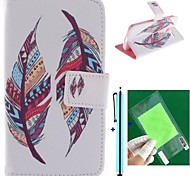 Double Feather Design PU Leather Full Body Case with Screen Protector, Stylus and Stand for Motorola moto X