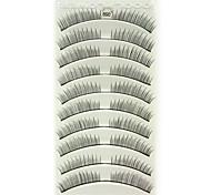 10pcs fibra preta cílios postiços