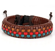 Comfortable Basket Braiding Leather Bracelet Brown Red Blue (1 Piece)