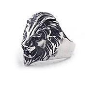 z&anillo declaración X® de los hombres de acero de titanio león de estilo europeo