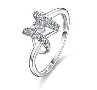 venda quente anel de zircão palted-prata das mulheres