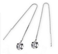 Fine Jewelry 925 Sterling Silver Zircon Line Earring Drop 1 Pair