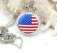 personalizzato bandiera modello cordini orologio da tasca argento smaltato di metallo