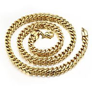 Domineering Coarse Titanium Steel Chain Electric Tothe Gold-plated Necklace