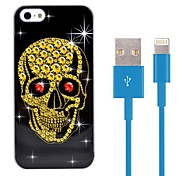 Skull Shaped Design Hard Plastic Case with 100cm 8-Pin to USB Charging Data Blue Cable for iPhone 5/5S