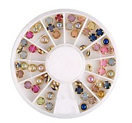 60PCS Colorful Pearl Metal Lipping Nail Art Decoration Kits