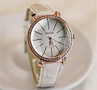 Womens'  Fashion Diamond Leather  Watch   Circular High quality Japanese watch movement(Assorted Colors)