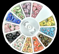 60PCS 12-Color Polymer Colorful Rose Nail Art Decoration