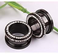 Fashion Stainless Steel Screw Ear plugs Flesh tunnel Gauges Piercing Body Jewelry A Set Of 2 25mm