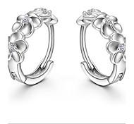 925 Sterling Silver Plum Flower Earrings