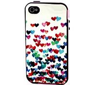 2-en-1 de muchos colores corazón patrón TPU con paragolpes pc estuche blando a prueba de golpes para Apple iPhone 4 / 4s