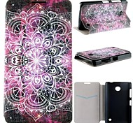 Purple Lotus Pattern PU Leather Full Body Case with Card Slot for Nokia Lumia 630 635 630 DS 630 Dual SIM