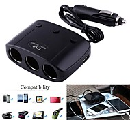1-to-3 Car Cigarette Lighter Socket Splitter Adapter w/ Dual-USB Output (12~24V)