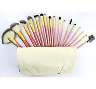 venta caliente pincel de maquillaje profesional conjunto con 18pcs cepillos y bolso blanco