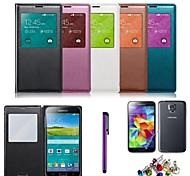 Für mit Sichtfenster / Flipbare Hülle Hülle Handyhülle für das ganze Handy Hülle Einheitliche Farbe Hart PU - Leder Samsung S5