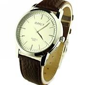 Reloj del análogo de los hombres PU del dial redondo de cuarzo banda