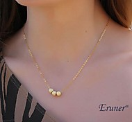 Eruner® Vintage Three Golden Bead Pendant Necklace