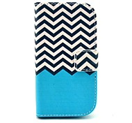 Blue Wave Pattern PU Leather Case with Card Slot and Stand for Samsung Galaxy S3 mini I8190