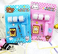 3PCS Child Korea Style Stationery Roller Stamp Rubber Craft Pattern Labels Indexes & Stamps