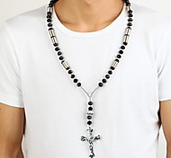 Jack Men's Fashion Big Bead Cross Shape Pendant Necklace