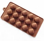 15 Hole Shell Shape Cake Mold Ice Jelly Chocolate Mold,Silicone 22×11×1.5 CM(8.7×4.3×0.6 INCH)