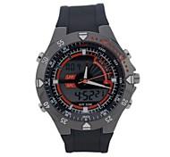 HY-6 Men's Fashion Silicone Band Round Dial Quartz & Digital Dual Display Wrist Watch (Assorted Color)(1 x CR2016)