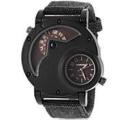 Men's Round Dial Fabric Band Quartz Wrist Watch (Assorted Colors)