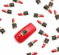 10PCS Red Nail Art Alloy Slice Metallic Black Nail Design Jewelry Manicure Monday Theme for Daily Nails