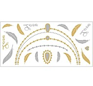 1Pc Gold And Silver Metallic Feather Necklace Bracelet Tattoo Sticker