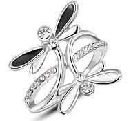 Roxi® Silver Black-White Waterfly Ring